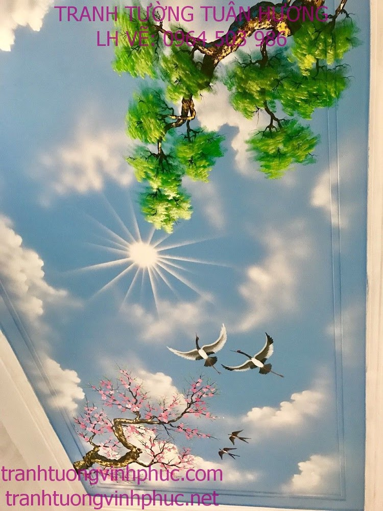 vẽ trần mây tại xuân hòa phúc yên