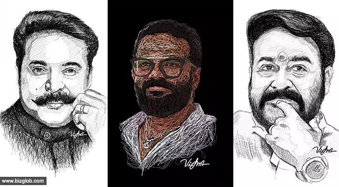 Actor Mammootty, Mohanlal, Jayasurya Mobile Drawings