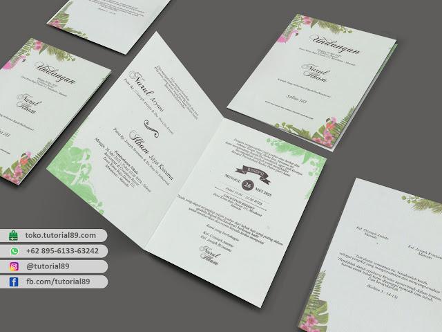 Undangan pernikahan 89.S183 - Seimpel Lipat 2 +stiker label undangan