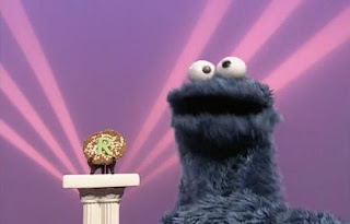 Cookie Monster sings Cookie Monter's R Rap in Letter of the Day segment. Sesame Street All Star Alphabet