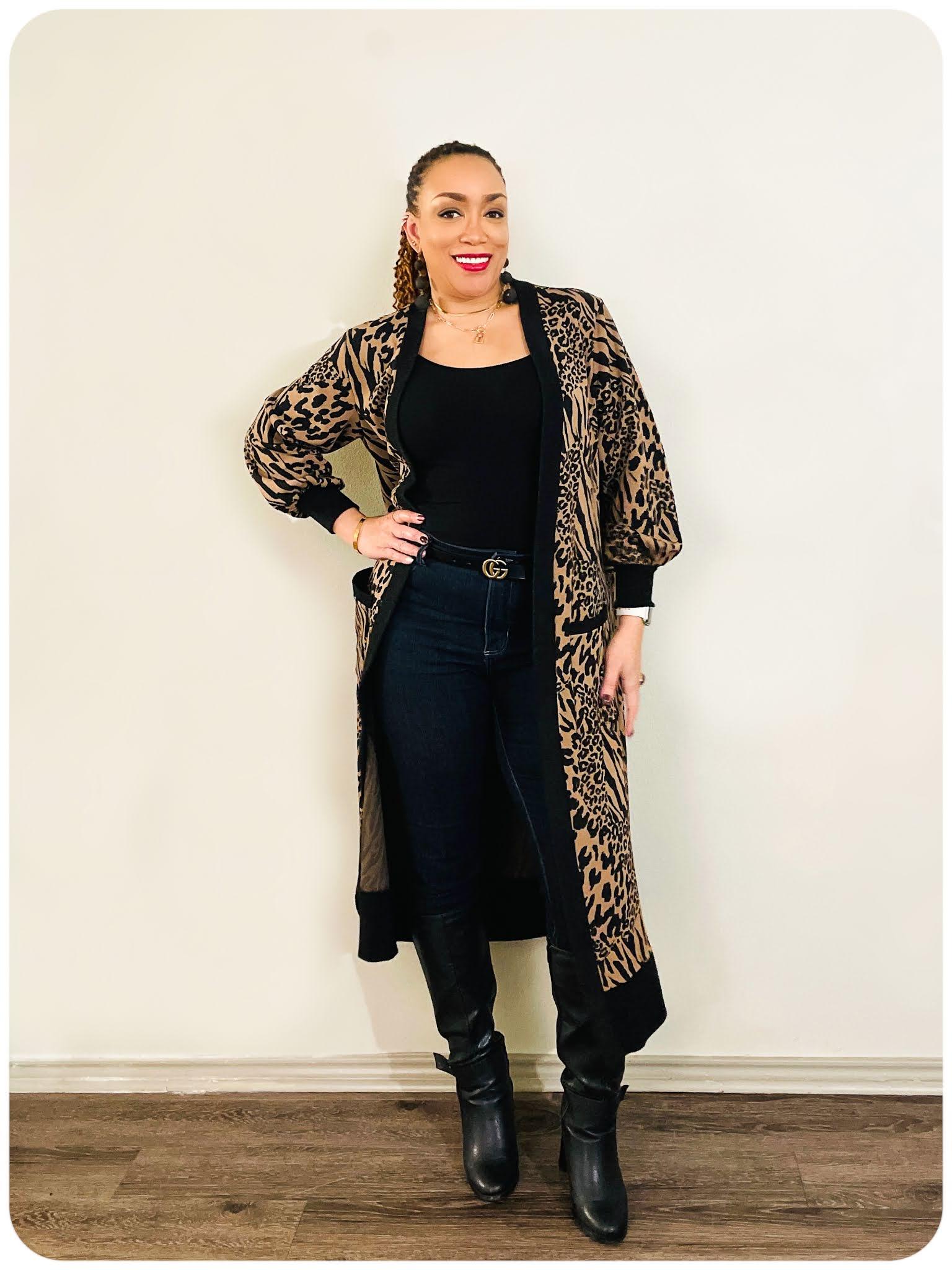 Mixed Animal Print Cardigan - Erica Bunker DIY Style x Zelouf Fabrics