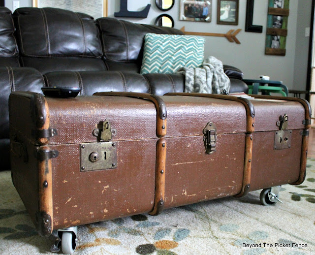 add casters to give an old trunk an industrial vintage look
