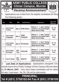 Army Public College Chinar Campus Jobs 2021 in Pakistan