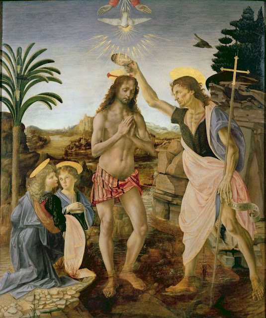 The Baptism of Christ by Verrocchio and Leonardo