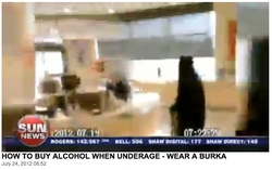 Video grab of 14-year-old boy wearing burqa in order to buy liquor