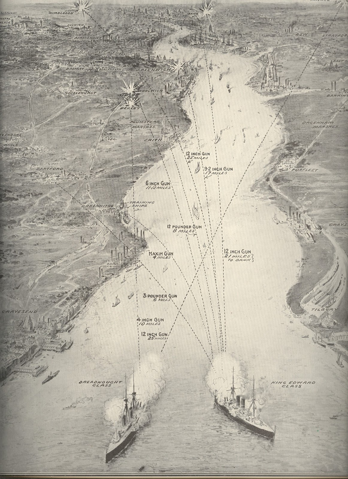 Map of River Thames showing comparative range of naval guns firing upon London (Illustrated London News, 24 July 1909)