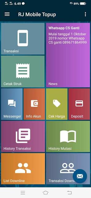 Tampilan Utama Apk RJ Mobile Topup Raja Reload Pulsa