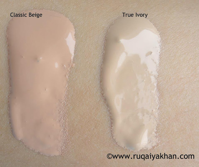 Swatch Rimmel Lasting Finish 25 Hour Foundation in Classic Beige and True Ivory