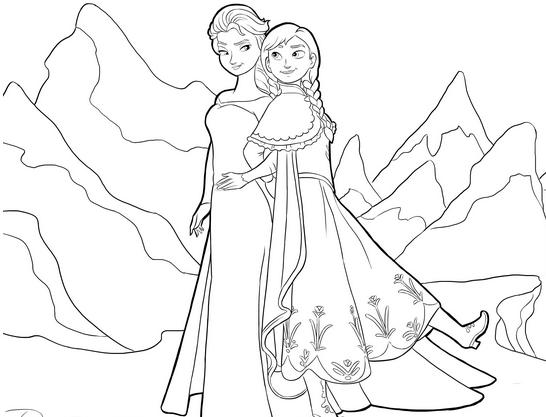 Tranh tô màu Elsa và Anna 9