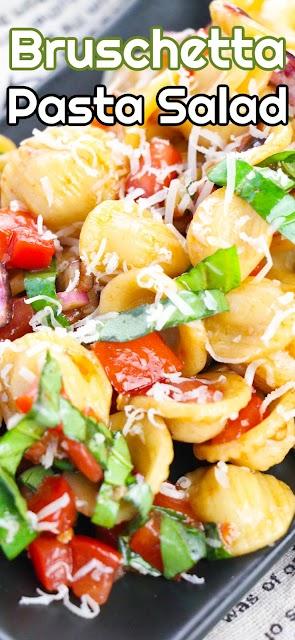 pasta salad with fresh basil on top