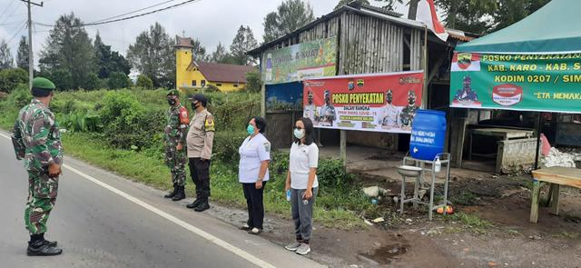 Personel Gabungan, Jajaran Kodim 0207/Simalungun Laksanakan Pos Penyekatan Perbatasan Kab Karo - Kab Simalungun