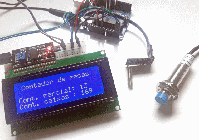 Contador remoto com sensor indutivo e módulo wireless HC-12 Arduino