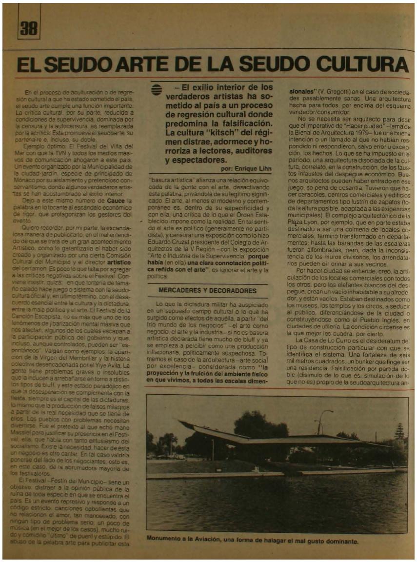 El seudo arte de la seudo cultura por Enrique Lihn en Revista Cauce 1984