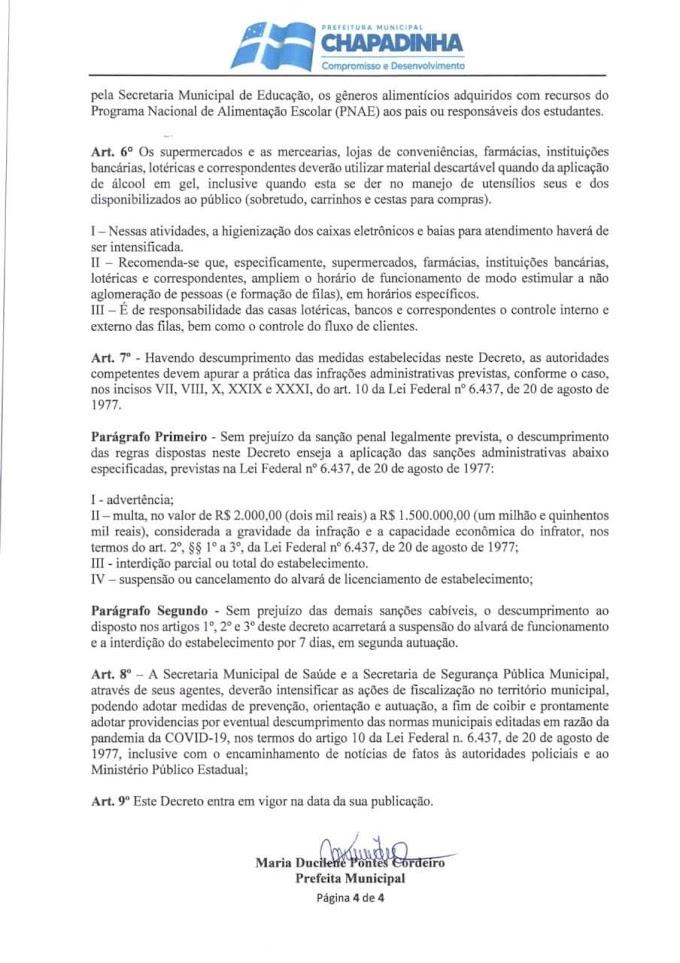 Prefeitura de Chapadinha publica novo Decreto de prevenção ao covid-19