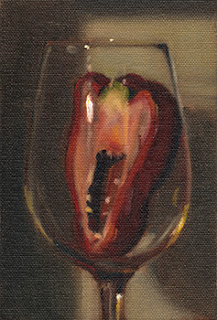 Oil painting of half a red pepper, sliced vertically, in a wine glass.