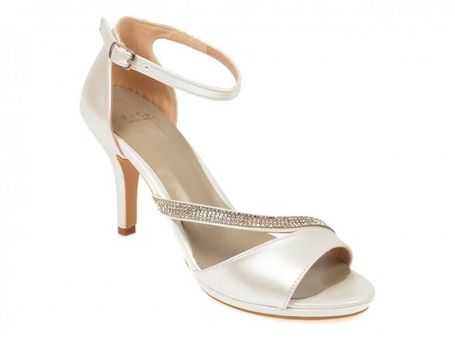 Sandale elegante de ocazii cu toc inalt albe perla cu strassuri argintii