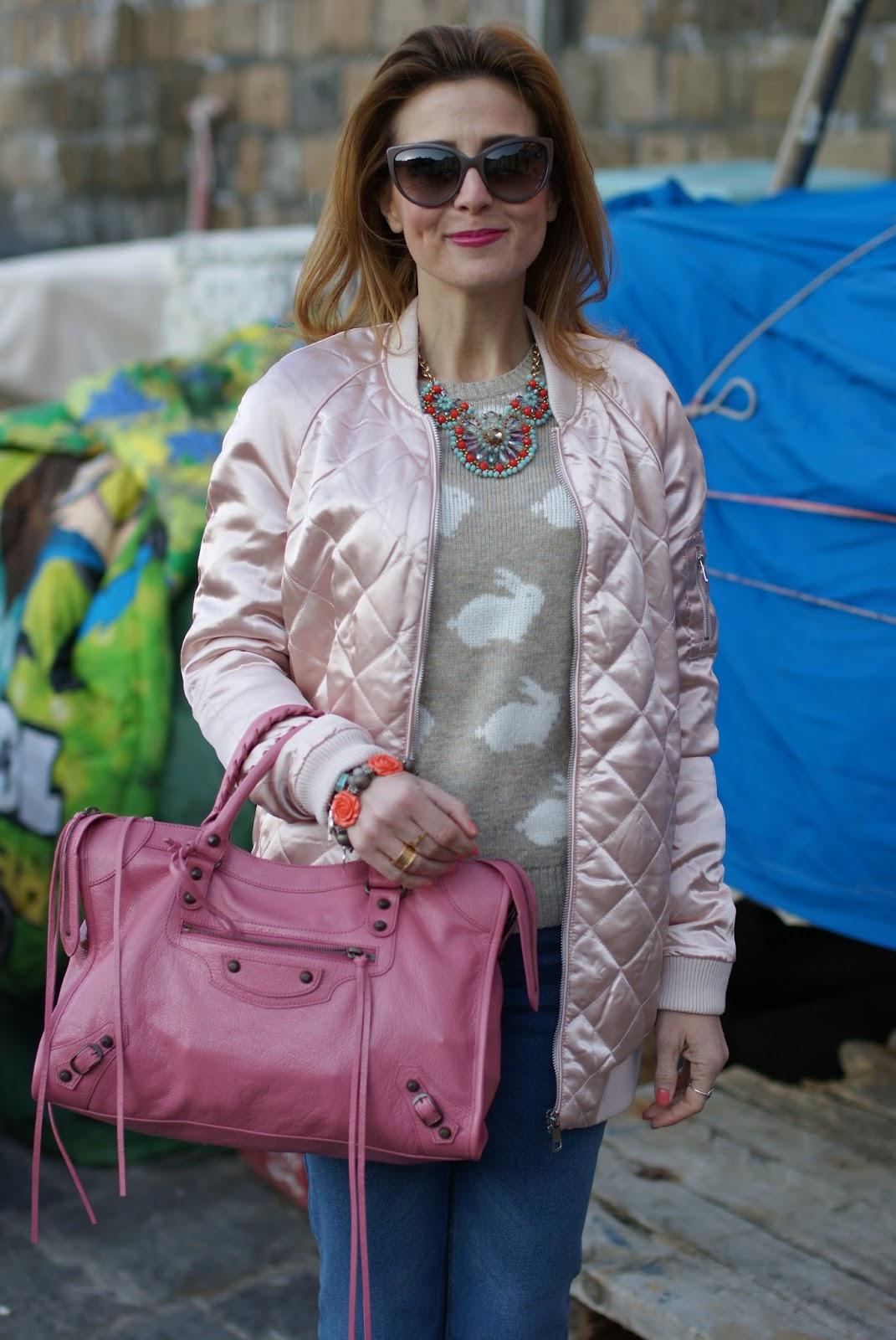 Pink satin bomber jacket, Balenciaga pink bag on Fashion and Cookies fashion blog, fashion blogger style