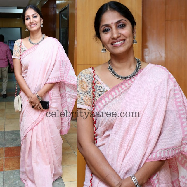 Anchor Jhansi Baby Pink Printed Saree