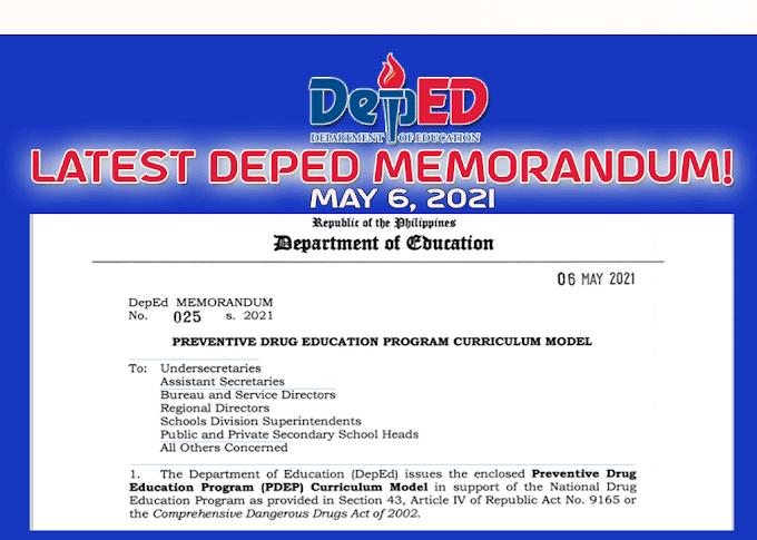 DepEd Latest Memorandum: Preventive Drug Education Program Curriculum Model