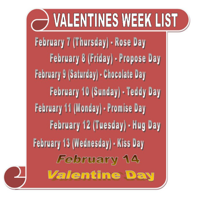 valentine week list 2020