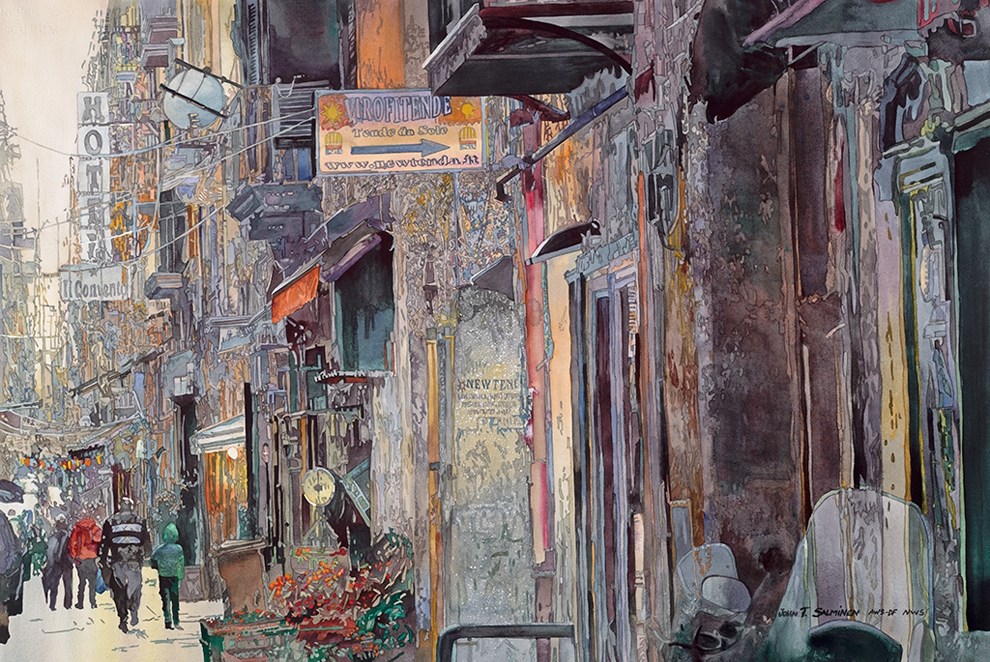 13-Napoli-John-Salminen-Watercolor-Paintings-Taking-Glimpses-into-our-Life-www-designstack-co