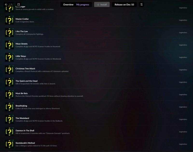 GOG Galaxy adds achievements for Cyberpunk 2077 screenshot 2