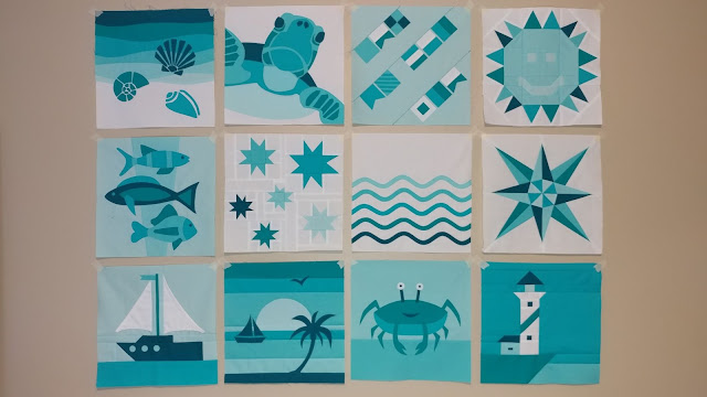 All 12 QAL By the Sea ocean-themed quilt blocks
