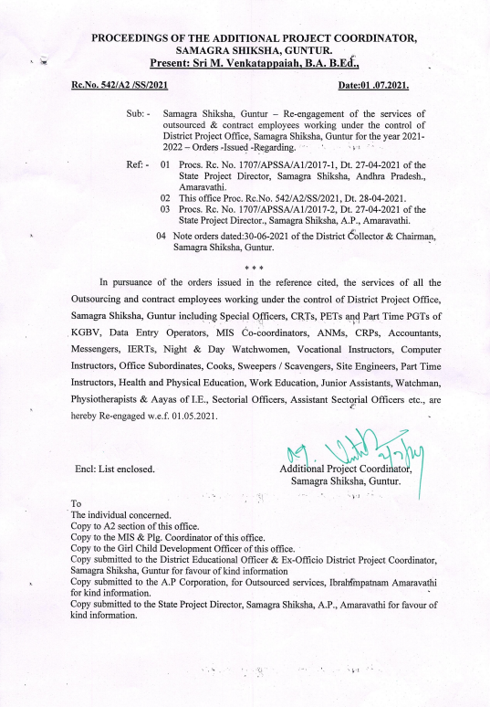 Guntur District - Re-engagement of outsourced and contract employees under Samagra Shiksha 2021-2022