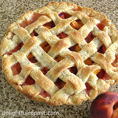 Peach Pie with Lattice Crust (food processor or by hand pastry method) / www.delightfulrepast.com