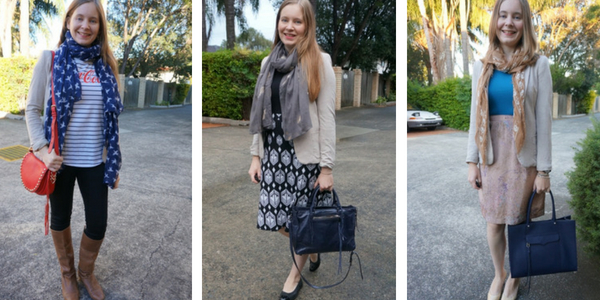 ways to wear print mixing outfits with neutral jersey blazer | away from the blue