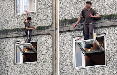 Nettoyer une fenêtre en hauteur, en toute sécurité