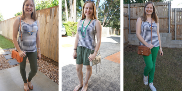 3 different ways to wear a navy white striped tank with green | awayfromblue