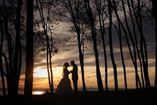 beautiful beach wedding silhouette