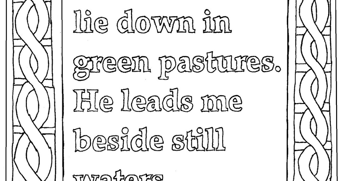 Coloring Pages For Kids By Mr Adron Printable Psalm 23 2