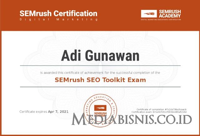 Jawaban SEMrush SEO Toolkit Certification