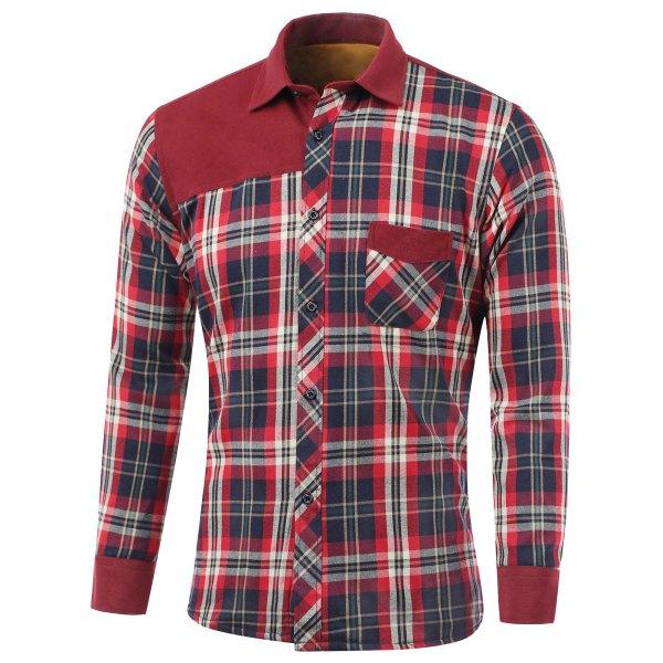 Tartan Spliced Design Turn-Down CollarFleece Shirt - Red Xl