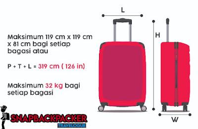 saiz bagasi untuk dalam kargo pesawat
