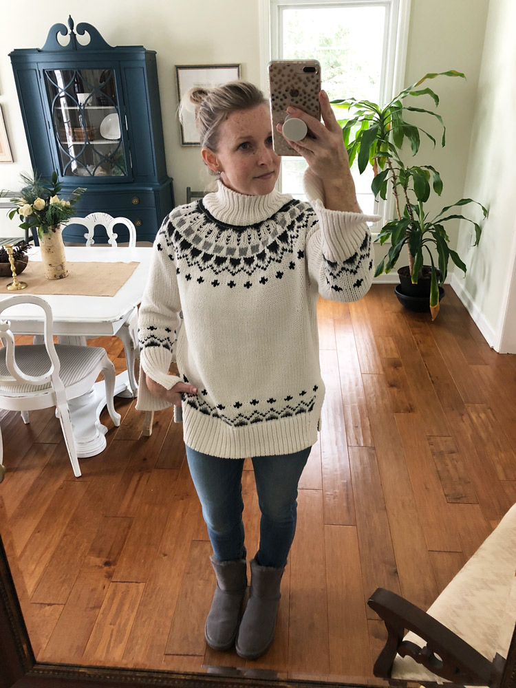 fair isle sweater with skinny jeans and ugg boots