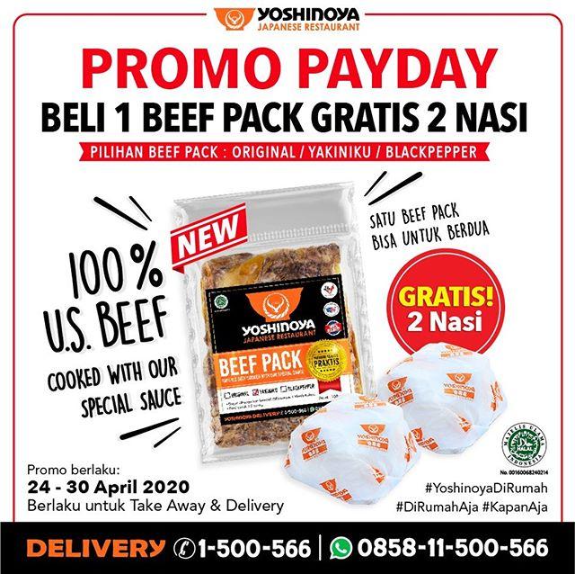 #Yoshinoya - #Promo PAYDAY Beli 1 Beef Pack Gratis 2 Nasi (s.d 30 April 2020)