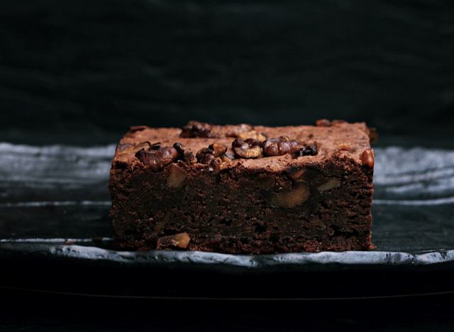 brownie cut from a brownie cake