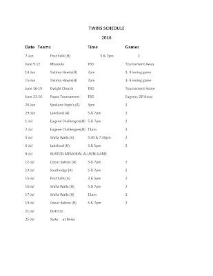 2016 Lewis Clark Twins Schedule