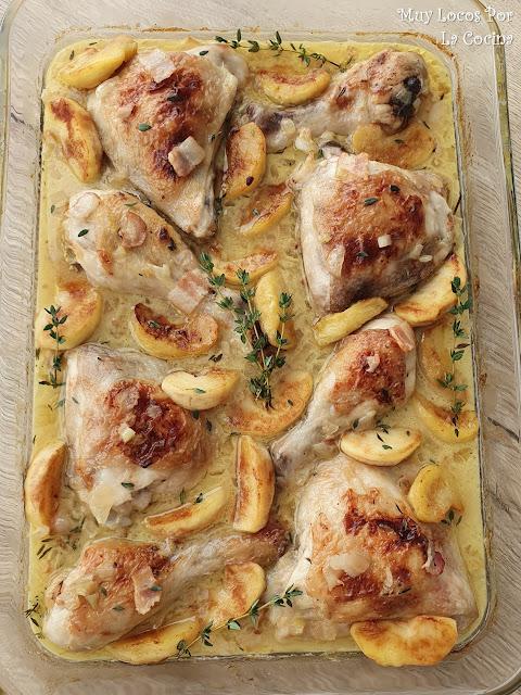 Pollo al horno a la Sidra con Manzanas y Bacon (Pollo a la Normanda)