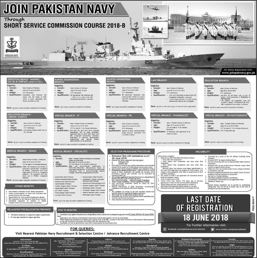 Latest Pakistan Navy Jobs Through SSCC 2018-B Online Registration