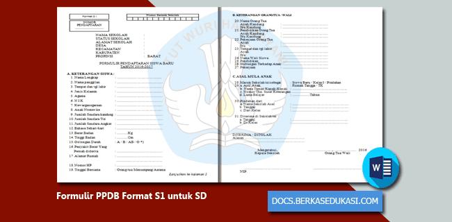 Download Formulir PPDB Format S1 untuk SD