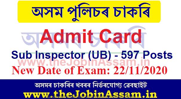 Assam Police Sub Inspector Admit Card 2020