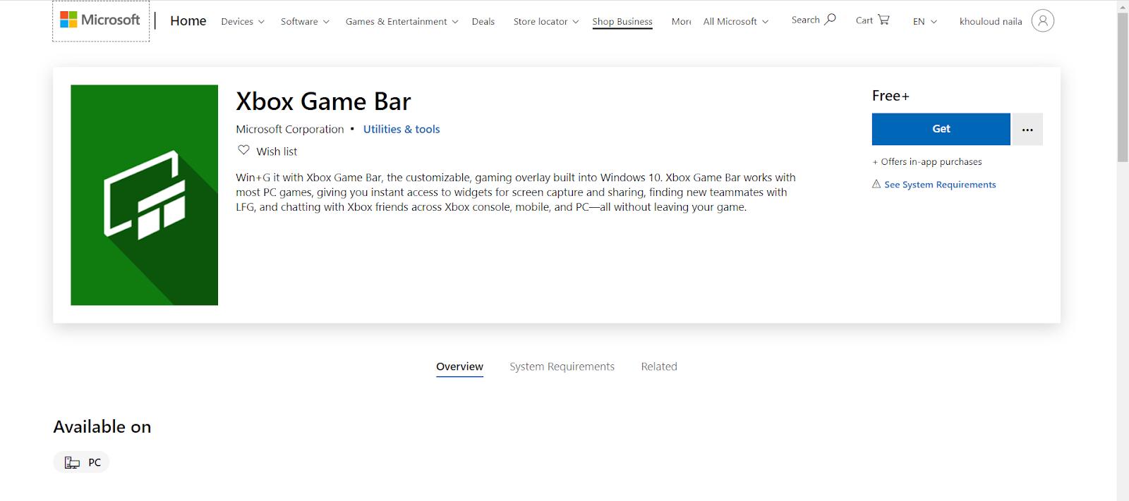 ويندوز 10 Xbox Game Bar