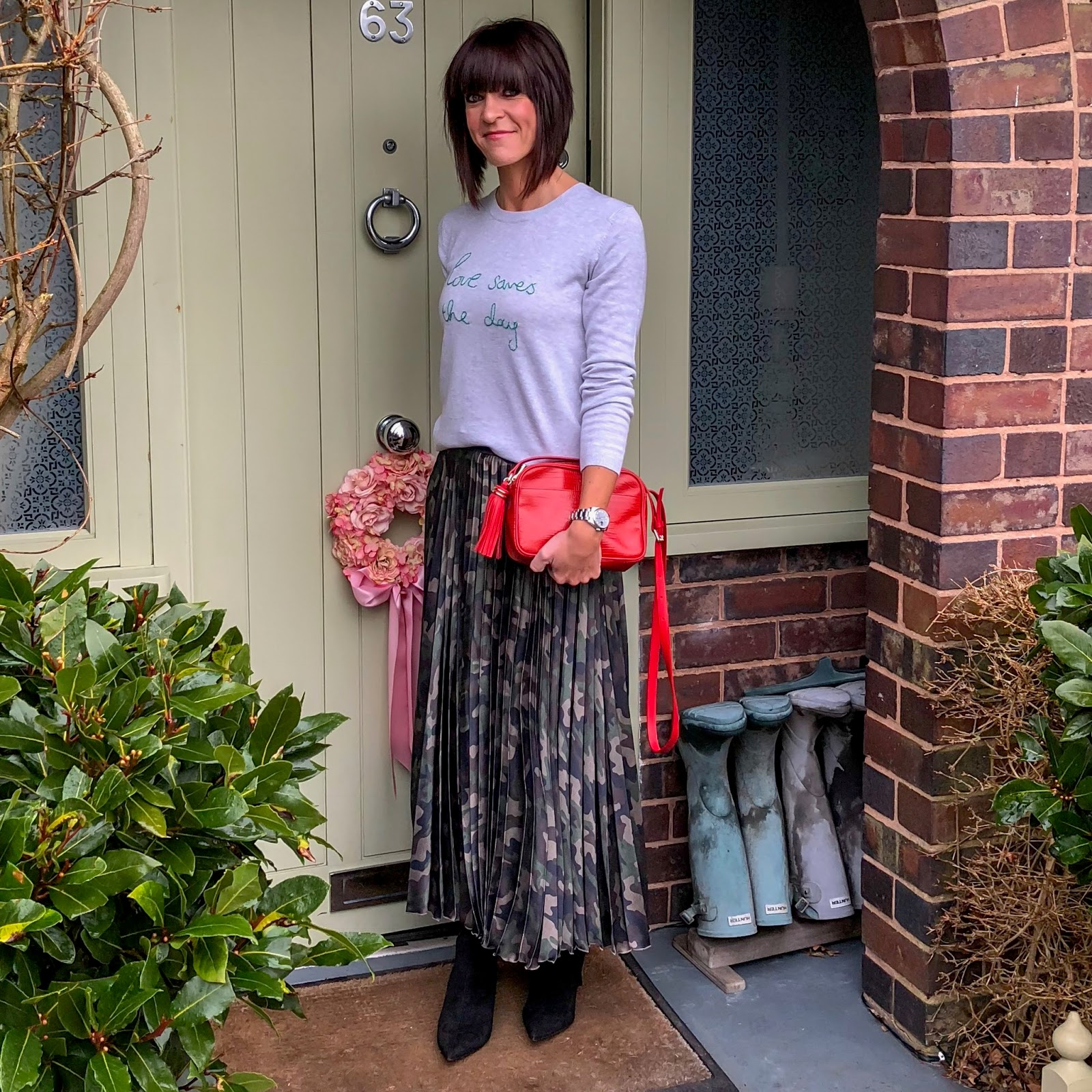 my midlife fashion, hush love saves the day crew neck jumper, uterque mock croc cross body bag, asos camouflage pleated satin maxi skirt, marks and spencer side zip stiletto heel ankle boots
