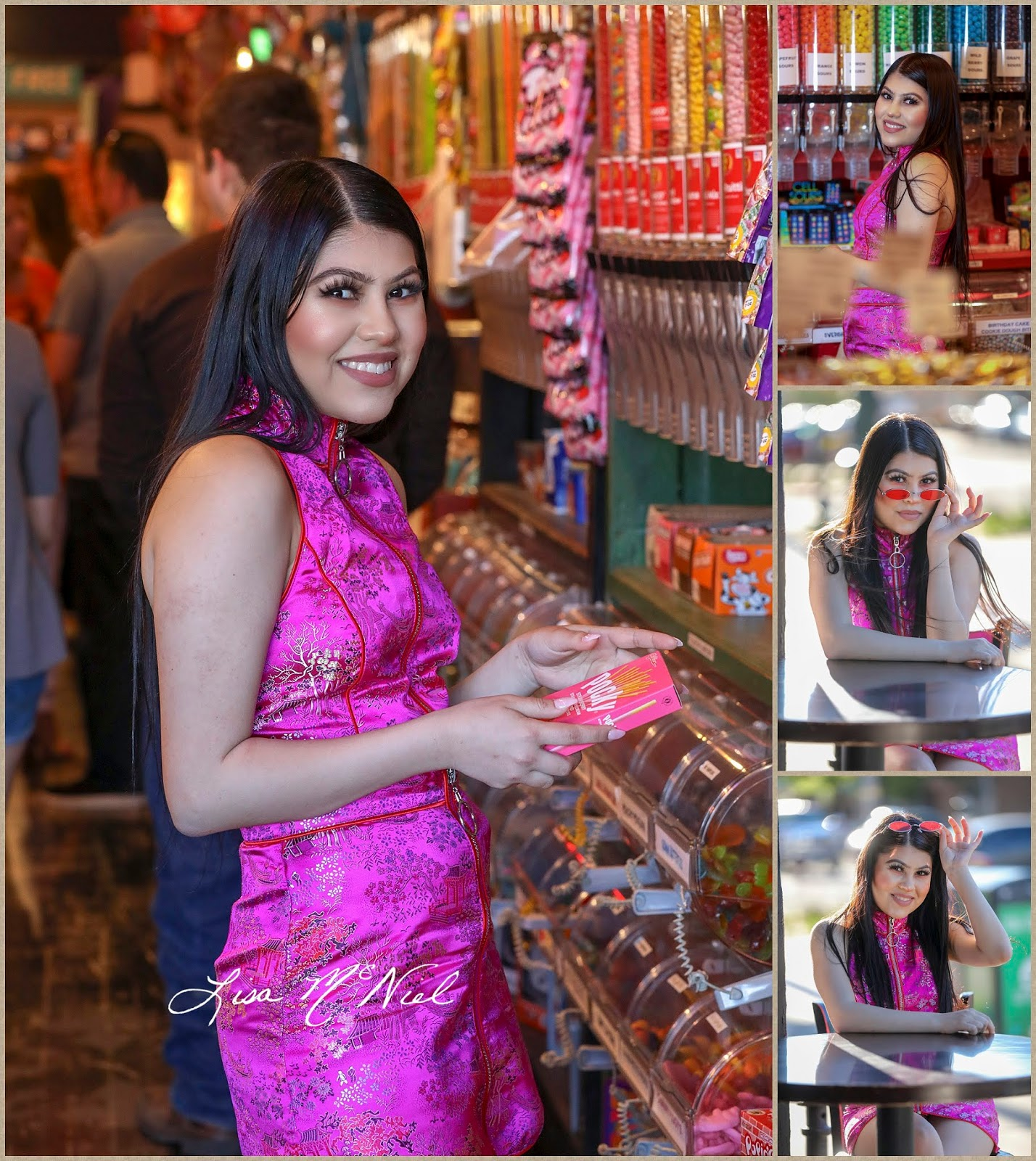 teen girl in candy shop