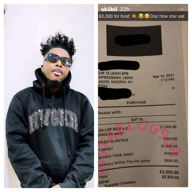 Popular Singer, Skiibii Shows Off Receipt Of N1.3M He Spent On Food At Lagos Restaurant
