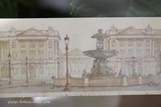 A small paper bookmark with a water-color style print of Place de la Concorde is beautiful enough to frame.